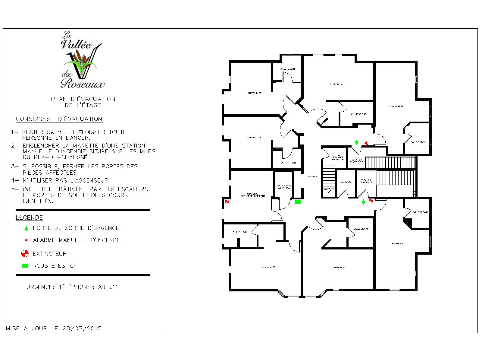 Plan d'évacuation Vallée des roseaux étage